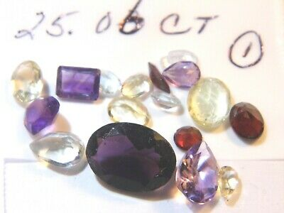 25.06-1Ct Parcel Natural Faceted Gems Mixed Sizes and Shapes as Shown