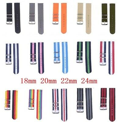Watchband Sections Multicolor Nylon Wristwatch Straps Unisex Fabric Band 17-24mm