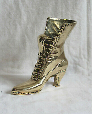 Heavy Solid Brass Vintage Standing Tall Victorian Boot  860grammes