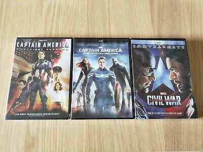 Captain America Trilogy 1 2 3 All 3 Movies DVD Bundle Free Shipping!