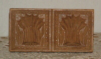 Antique Hand Carved Wood Butter Stamp Double Sheaf Wheat Mold Press Form Handled