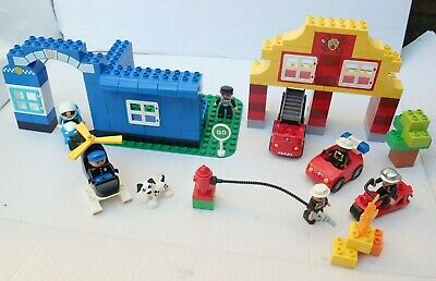 Lego Duplo Bundle Customised  Police And  Fire Station  Scene With Figures