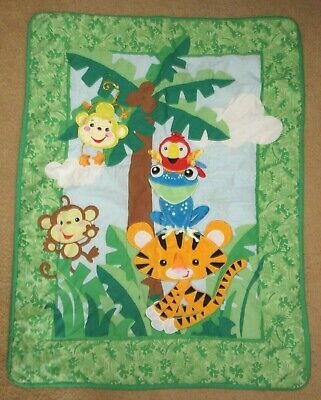Fisher Price Animals of the Rainforest Comforter Quilt & Crib Skirt Set of 2