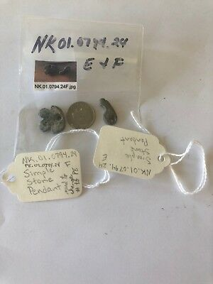 Lot of 2 Simple Stone Pendant American Indian - Museum Provenance