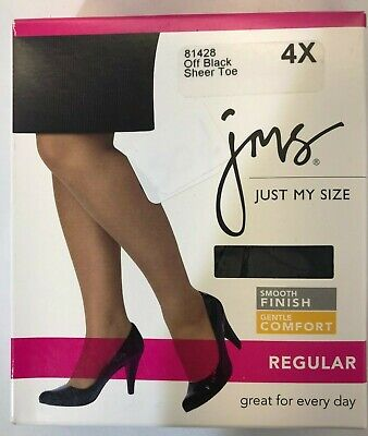 NIP Just My Size Pantyhose - Off Black - Reinforced Toe Smooth Finish - Size 4X