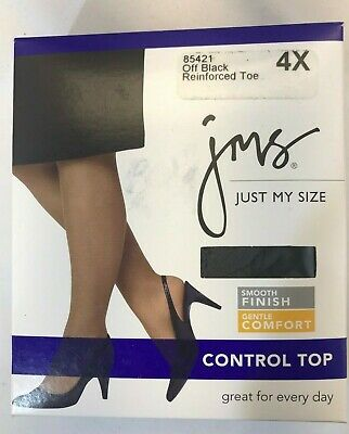 NIP Just My Size Pantyhose - Off White - Reinforced Toe Smooth Finish - Size 4X