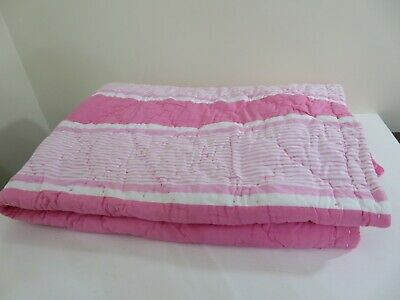 Pottery Barn Kids Pink & White Toddler Quilt Used