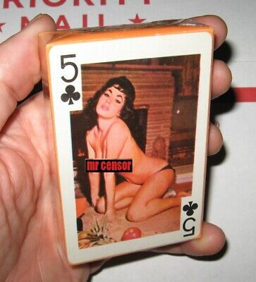 vtg Sealed 1960's GAIETY 54 MODELS Nude Lady Playing Cards 5 of clubs
