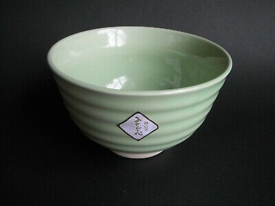 Japanese Bowl DONBURI Noodle Rice Soup Ramen Cereal Yellowish Green Unused #2