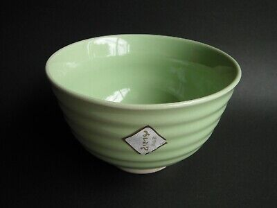 Japanese Bowl DONBURI Noodle Rice Soup Ramen Cereal Yellowish Green Unused #3