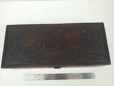 Collection Old China Boxwood Wood Hand Carving Flower Bird Jewelry Box L16.5inch