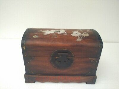 Collection Old China Boxwood Wood Hand Carving Inlay Shell Duck big Jewelry Box