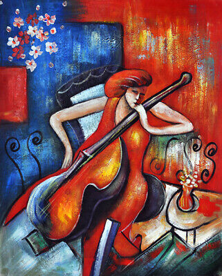 Abstract woman playing cello Oil Painting Giclee Art Printed on canvas L2256