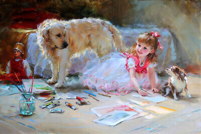 Cute little girl drawing Oil Painting Giclee Art Printed on canvas L1929