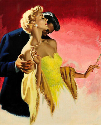 Man Kissing Woman's Neck Oil Painting Giclee Art Printed on canvas L2472