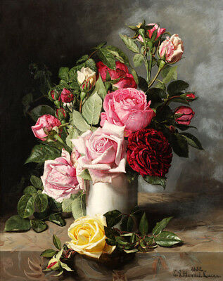 Still life Roses flowers Oil Painting HD Printed on Canvas 16x20 inch L1661
