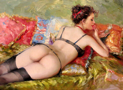 Nude girl with makeup Oil Painting Giclee Art Printed on canvas L1630