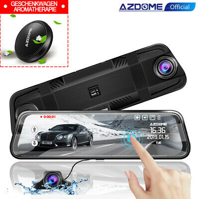 "AZDOME PG-02 10"" Mirror Dash Cam Car Streaming Media Touch Screen Dual Lens DVR"