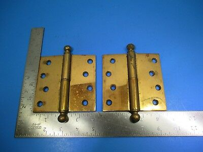 """Antique Two Brass Plated Short Pin Door Hinges 4"""" X 4"""" Unbranded VS11 B15"""