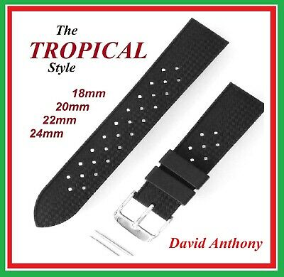 Retro Tropical Style 18Mm, 20Mm, 22Mm, 24Mm Divers Silicone Rubber Watch Strap.