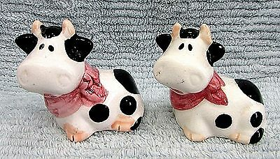 Hand Painted Ceramic Cute 1990's Black White Cow Salt Pepper Shakers Set FREE SH