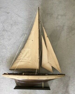 "Large Vintage Wooden Model Sailing Yacht / Boat / Ship 30"" inches Long on stand"
