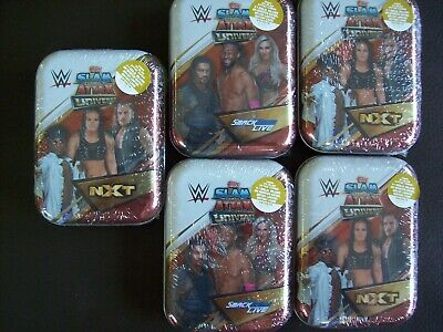 5 x TOPPS WWE SLAM ATTAX UNIVERSE TRADING CARDS MINI TINS