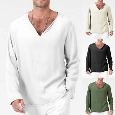 Mens Casual V-Neck Cotton Linen Long Sleeve T-shirts Hippie Loose Solid Tops EW