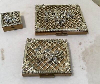 Vintage Set of 3 Solid Brass Clear Rhinestones Cigarette Case Compact & Pill Box