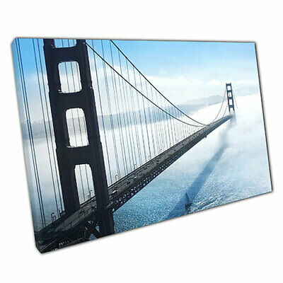 Print on Canvas Golden Gate Bridge cloud cover Ready to Hang Wall Art 30x20 Inch