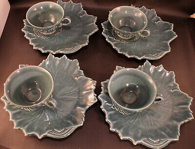 Russell Wright Woodfield Steubenville Leaf Shaped FOUR (4) Plates Cups Sea Foam