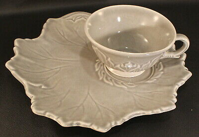 Russell Wright Woodfield by Steubenville Leaf Shaped ONE (1) Plates & Cups Grey