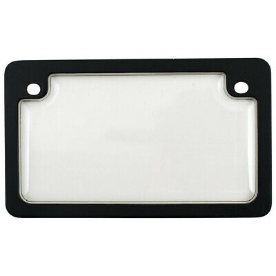 Black License Plate Tag Frame + Clear Shield Protector Cover for Motorcycle-Bike