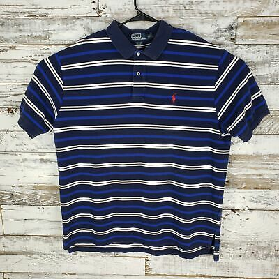 Polo By Ralph Lauren Mens Short Sleeve  Polo Shirt Golf Blue Striped Size XXL