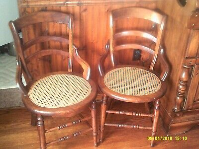 vintage dining kitchen chairs wood cane seat arms curved dark stain 1940s? set 2