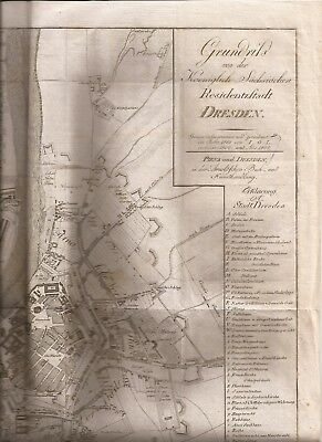 """Germany-Map (1807) of Dresden/Pirna- 15""""x15"""" original- a real beauty!"""