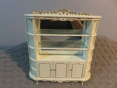 Dollhouse Miniature Bespaq  Hutch white and gold with mirrors