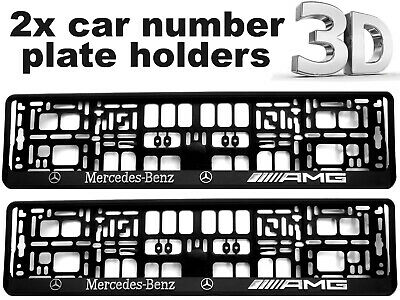 2 x 3D CAR Number Plate Surround Holder Frames BEST FIT for MERCEDES