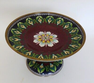 Antique Chinese Cloisonne Enamel Pedestal Footed Tazza Compote