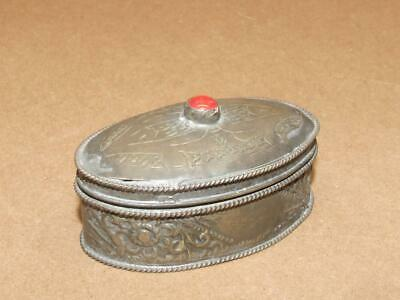 VTG Chinese Tibetan Nepal Etched Floral Snuff Trinket Box Coral Bead Hinged Lid