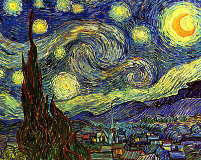 Starry night by Vincent van Gogh Oil Painting Giclee Art Printed on canvas L2406