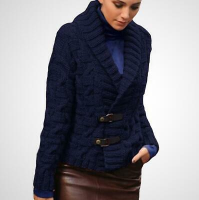 Winter Womens Knitted V Neck Cable Knit Sweaters Thicken Cardigan Jacket Outwear
