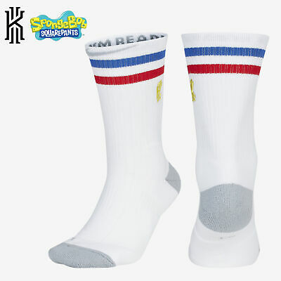 NBA Nike Elite Kyrie Spongebob Crew White Blue Red Basketball Socks SK0086-100