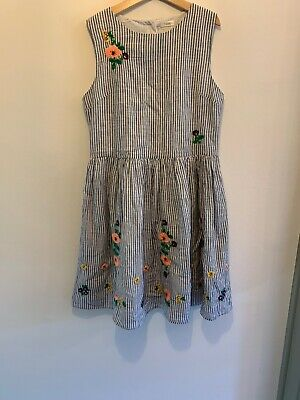 NEXT Embroidered Flower Stripe Summer Dress Age 12 Years BNWT