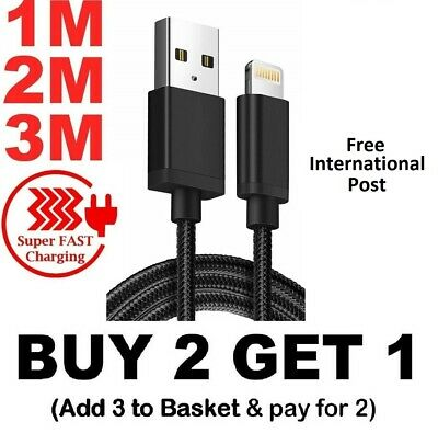 Long Braided USB Quick Charger Data Charging Cable Lead For iPhone 5 6 7 8 X XR