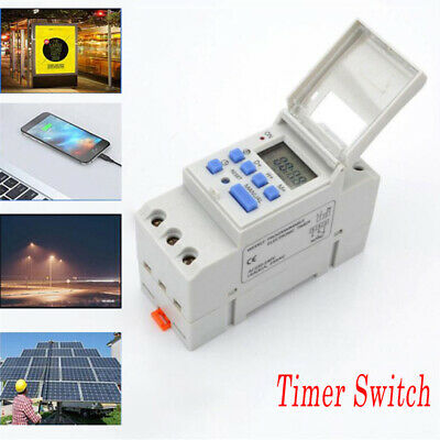 New THC15A 12-220V DIN Rail Mounting Digital Programmable Timer Time Switch UK