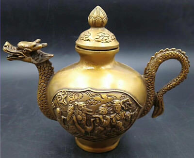 Old China Collectible Relievo wealth Delicate Decor Old brass dragon Teapot