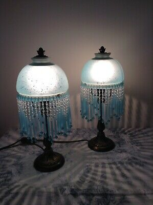 Pair Vintage French Blue Glass Table Lamps Lights, Beaded Droplets (4076)