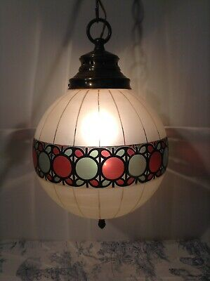 Beautiful Vintage French Glass Globe Ceiling Light - Porch (4064)