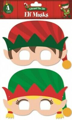 4 x Christmas Elf Masks Party Bag Stocking Filler Xmas Table Decorations Games